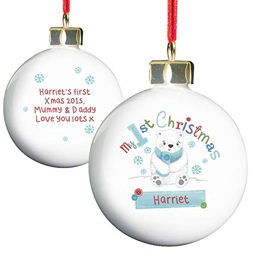 Personalised My First Christmas Bauble - Polar Bear Design, Tree Decorations, Baby's 1st Christmas, New Baby