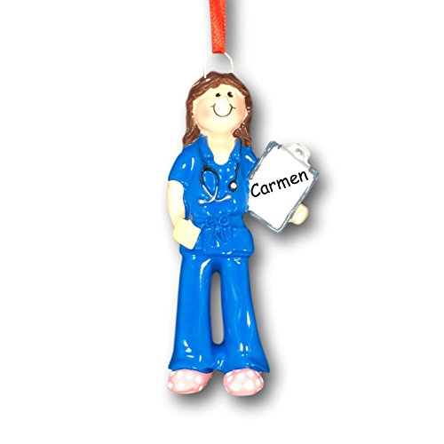 Personalized Female Scrubs Nurse Christmas Ornament - Medical RN Doctor with Clipboard Christmas Tree Ornament with Name - Brunette