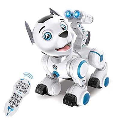 fisca Remote Control Robotic Dog RC Interactive Intelligent Walking Dancing Programmable Robot Puppy Toy Electronic Pets with Light and Sound for Kids Boys Girls Age 6, 7, 8, 9, 10 and Up Year Old