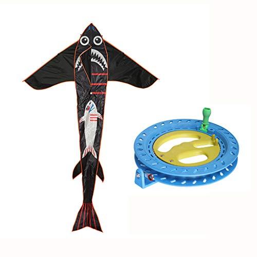 BECF Gran Tiburón De Dibujos Animados Delta Kite Fácil De Montar, Lanzamiento, Mosca Superior Calidad, Ideal Playa Utilizar Mejor Cometa Muchachas, Niños, Adultos, Principiantes Y Profesionales