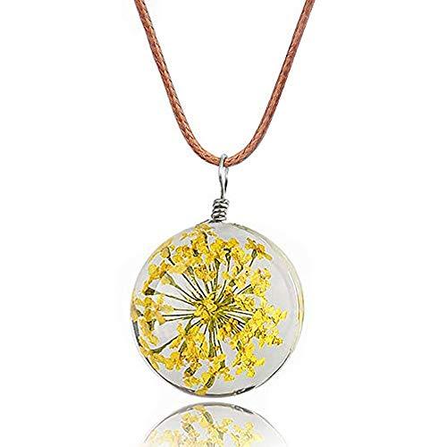 Lunapolaris Halskette - Glückskugel mit eingegossener getrockneter Blume - Speziell Handgefertigt & liebevoll eingearbeitet ┃ Ein Traum Geschenk (Honig Gelb)