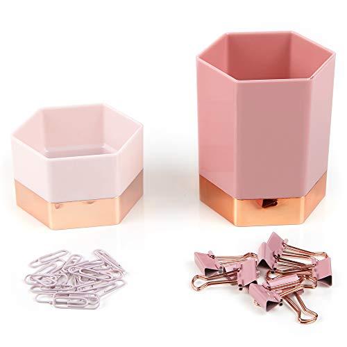 Erin Condren Metallic Hexagon Designer Desk Organizer Accessory Set of 4 - Blush Pen & Pencil Cup, Clip Holder, 8 Binder Clips, 20 Paper Clips for Office Desks