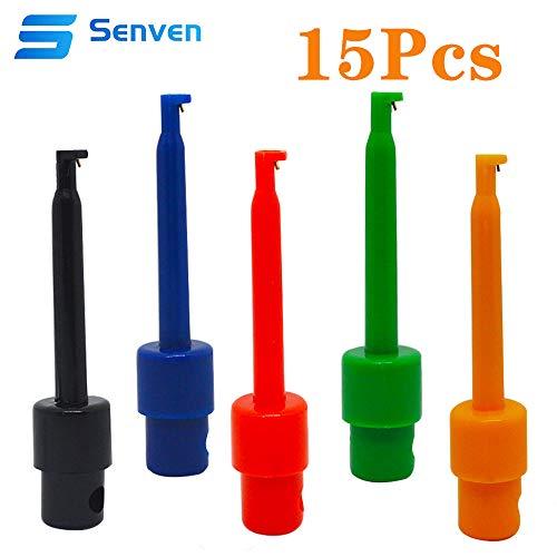 Senven 15 stücke Multimeter Draht Blei Test Haken Clip Elektronische Mini Test Sonde Set, Rot×3 Blau×3 Schwarz×3 Gelb×3 Grün×3 Für Repair Tool, prüfspitze grabber.