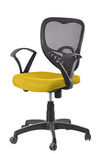 VIZOLT ; Simply Comfort! Diamond Office Chair/Study Chair/revolving Chair/Computer Chair for Home Work Executive Chair & Tilt Lock with Umbrella Base Or XW Handle (Yellow Black)