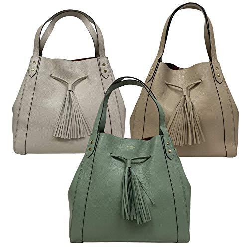 AVENUE 67 Tasche Frau Griffe AF061A0021 Anna Leder Dollar Made IN Italy - Creme, 15x37x27