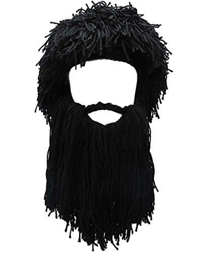 YEKEYI Knit Beard Hat Adult Viking Fake Hair Wig Visor Knitted Wool Funny Skull Cap Black