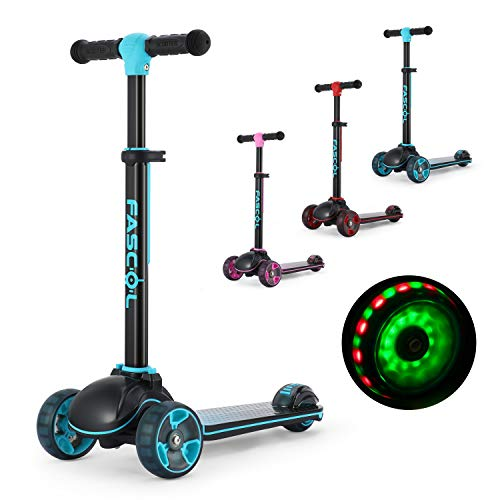 Fascol Patinete plegable de tres ruedas para niños a partir