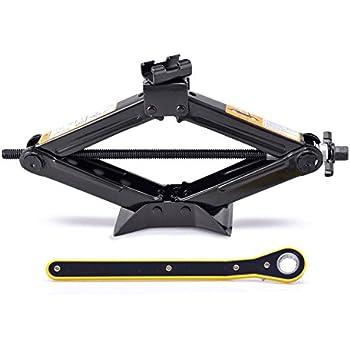 LEADBRAND Scissor Jack 1.5 Tons(3,307 lbs) Capacity Ratchet Handle Saving Strength Design