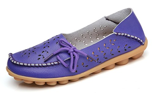 VenusCelia Women's Breathable Comfort Walking Flat Loafer(9.5 M US,Purple)