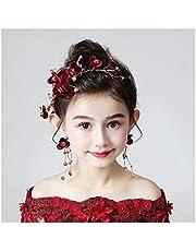 QFF Q Corona de Flores Bohemio Corolla Diadema Hecha a Mano niños Accesorios para el Cabello Conjunto Guirnalda roja Tocado Banda de Pelo Pelo Salvaje joyería de la Tarjeta F