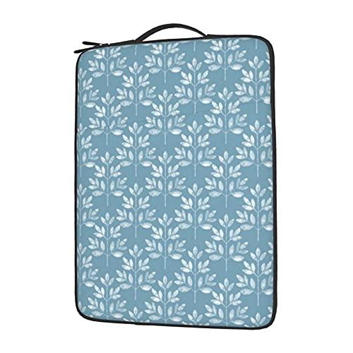 Funda para portátil de 13 a 15,6 pulgadas, diseño de hojas blancas en azul, funda protectora de neopreno impermeable compatible con...