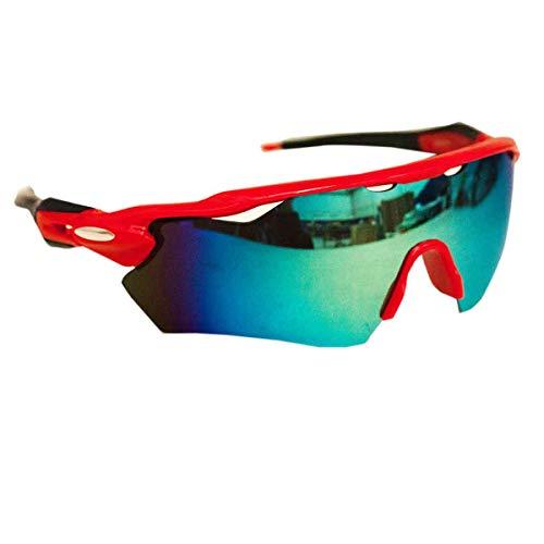 Óculos Esportivo Sol Bike Ciclismo Proteção Uv Sol (Preto com vermelho)