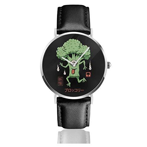 Relojes Cuarzo Cuero Banda Negra Colección Joven Regalo Unisex Business Casual Yokai Broccoli