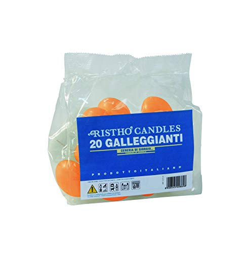 Schwimmkerzen, Orange, Durchmesser 4,5 cm, Höhe 2,7 cm, 20 Stück
