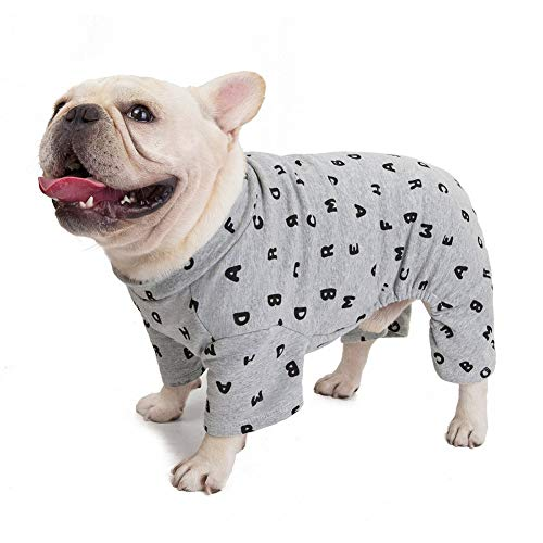 CheeseandU Pet Clothes Small Dog Four Legs Clothes French Bulldog Autumn Winter Soft Warm Cotton PJS Jumpsuits Cute Letters Printed Shirts Doggie Apparel Costume for Small Medium Dog Puppy,Grey