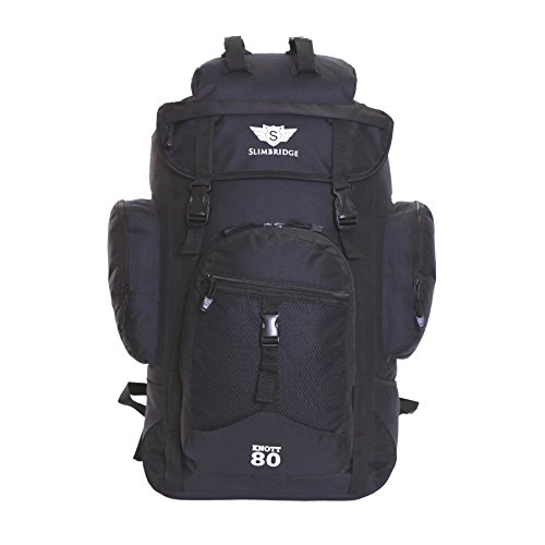 Slimbridge Trekkingrucksäck Handgepäck Wanderrucksack Wasserabweisend Rucksack 45 Liter 55 cm 1 kg, Knott Schwarz