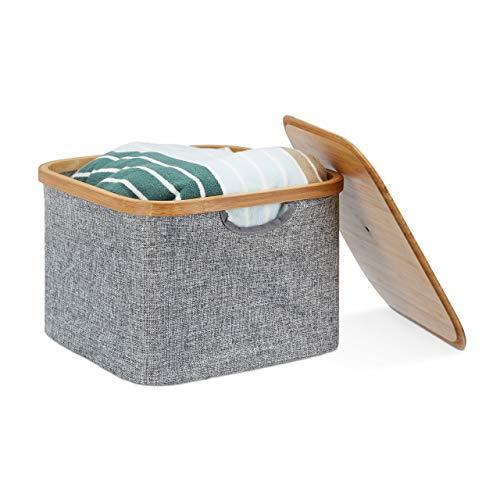 Relaxdays Aufbewahrungskorb Stoff, Aufbewahrungsbox mit Deckel, Regalkorb grau, Stoffbox, HxBxT: 25 x 33 x 33 cm, grey