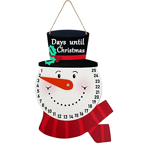 Snowman Advent Calendar Hanging Days Until Christmas Countdown Sign Wooden Snowman Countdown Calendar for Christmas Home Wall Indoor Outdoor Decoration