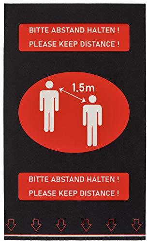 Hanse Home Bitte Abstand halten-1,5 m-Schmutzfangmatte Fußabtreter Fußmatte Aussen/Innen (90 x 150 cm, rutschfest, strapazierfähig, pflegeleicht), Schwarz/Rot