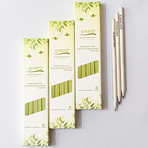Greenr Sustainable Products Private Limited Ecofriendly Wood and Polymer-Free Recycled Paper Pencil (White) - Pack of 5
