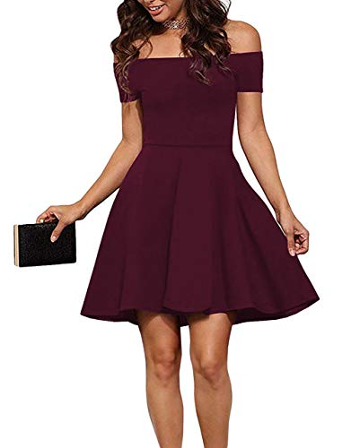 Sarin Mathews Womens Off The Shoulder Dress Short Sleeve Sexy Homecoming Summer Cocktail Party Skater Dresses Burgundy M