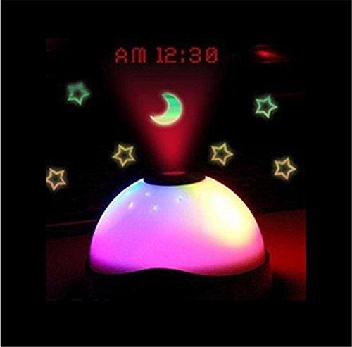 WGE Projectie Alarm Klok Horloge Kalender Klok Kleurrijke Droom Ster Dome Projectie Klokken Creatieve Gift