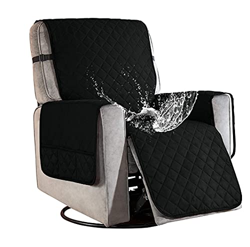 Sesselschoner für Fernsehsessel Relaxsessel, 1 Sitzer Sesselschoner mit Taschen Schwarz Sesselauflage Relaxsessel Sesselüberwurf Wasserdicht Sesselschutz Sofaüberwurf für Hunde Haustieren