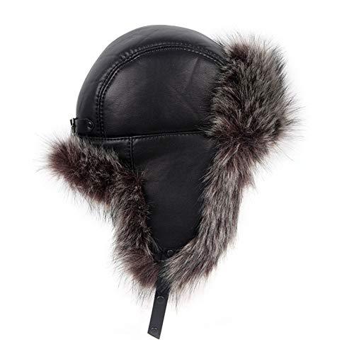USTZFTBCL Invierno Ushanka cuero imitación piel de zorro sombrero ruso mujeres hombres bombardero soviético sombreros gorra de nieve Gray fur 56cm