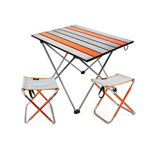 ZRXRY Mesa de Picnic para Acampar, Juego de Mesa y sillas Plegables al Aire Libre, Mesa de Centro de Aluminio portátil, Mesa de refrigerio Impermeable para la Playa, jardín, Viaje, Barbacoa