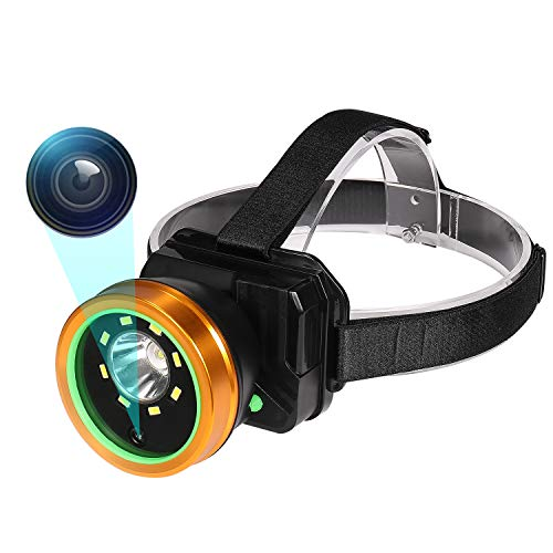 Headlamp Body Camera, 1080P Wearable Body Mounted Camera Rechargeable IPX4 Waterproof vlogging camera, Tiltable Police camera for indoor, outdoor, Camping, Hiking, Fishing with Night Vision.