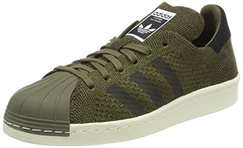 adidas Superstar 80s Primeknit, Scarpe da Ginnastica Basse Unisex-Adulto, Verde (Trace Olive/Core Black/Trace Cargo), 36 2/3 EU