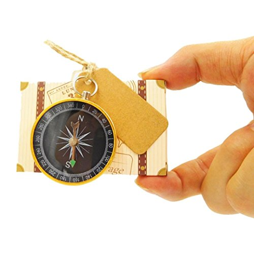 Gbell 1Pcs/20Pcs Candy Box Compass - Kids Travel Gifts, Wedding,Baby Shower,Celebrations, Graduations Favor Reception Decor (Brown, 20 PC)