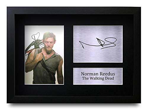 HWC Trading Norman Reedus A4 Gerahmte Signiert Gedruckt Autogramme Bild Druck-Fotoanzeige Geschenk Für The Walking Dead Tv-Show-Fans