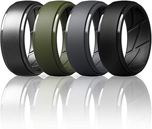ThunderFit Silicone Wedding Rings for Men - 4 Rings (Black, Dark Grey, Olive Green, Gunmetal, 13.5-14 (23mm))