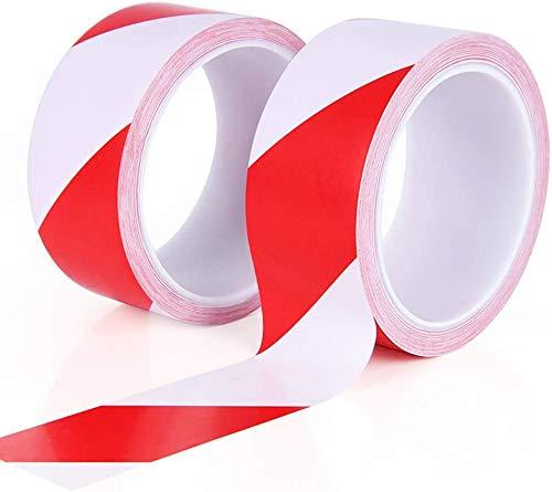 Nastro di avvertimento di pericolo rosso e bianco (2 confezioni), nastro di sicurezza, nastro di pericolo 30 m, adesivo per pavimento di avvertimento sociale Distancing Floor Tape Sign