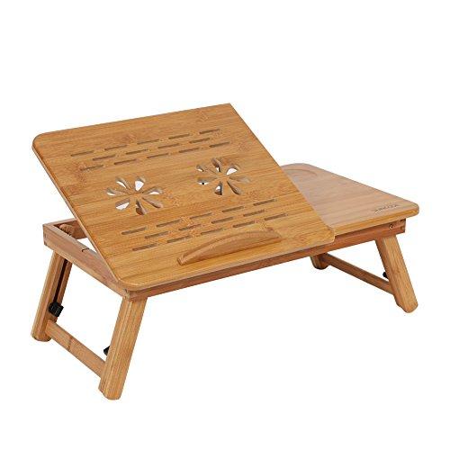 Mesa para portátiles plegable, bambú portátil ordenador portátil escritorio Cama Sofá bandeja soporte mesa de madera con doble rejilla de ventilación