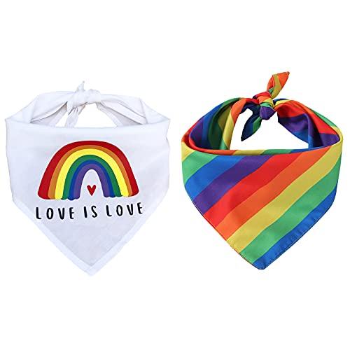 Tinsow 2 Pcs Dog Bandanas Gay Pride Rainbow Bandanas Cotton Handkerchiefs Party Supply Pet Bandana