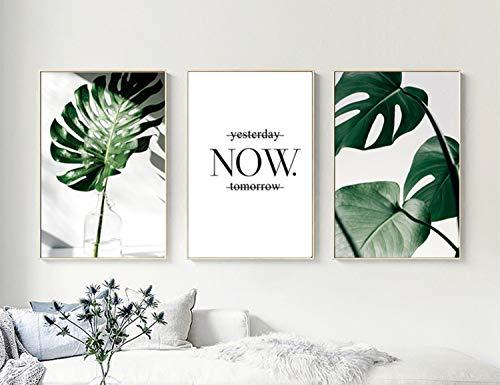 Set de 3 Laminas Decorativas pared Salon Hojas Verdes y Citas y Cuadros Hojas Tropicales Decoración Lienzo pared Dormitorio Cuadro Impresión PTGL002-M