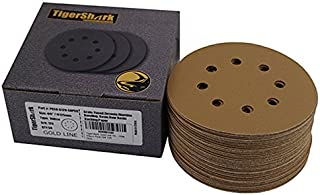 TigerShark 5 Inch Sanding Discs 8 Hole Grit 120 50pcs Pack Special Anti Clog Coating..
