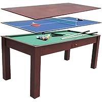 Devessport - Multijuego 3 en 1 - Billar, Ping-pong, Mesa de comedor, Fácil montaje, Patas con mayor estabilidad - Medidas: 184 x 91 x 78 Cm