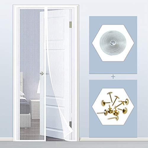 THAIKER Mosquitera Imanes Magnetica, 75x215cm(30x85inch) Mosquiteras para Puertas Magnética Automático Cierre magnético Que se Cierra automáticamente para Puertas Correderas, Blanco A