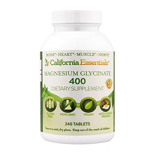 California Essentials Magnesium Glycinate 400 mg Supplement   Vegan, Non-GMO, Soy, Dairy, Wheat, Preservative & Gluten Free   Stress, Anxiety, Muscle (240 Tablet) Relief, Bone & Cardiovascular Support