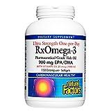 Natural Factors, Ultra Strength RxOmega-3 Fish Oil, DHA and EPA with Vitamin D3, 150 softgels, 150 Softgels
