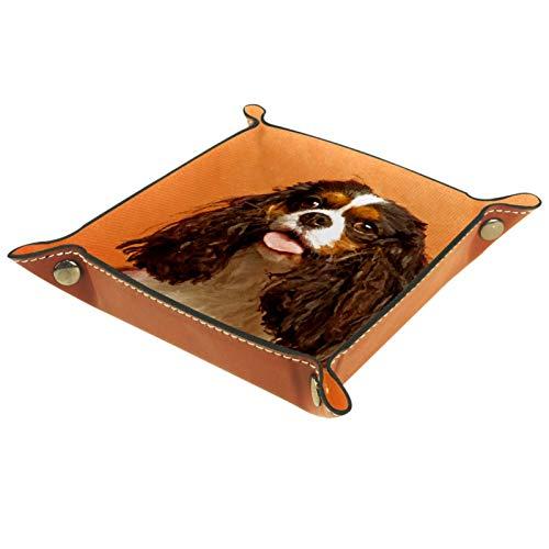 YATELI Caja de Almacenamiento pequeña, Bandeja de Valet para Hombre,Perro marrón y Blanco,Organizador de Cuero para Llaves de Caja de Monedas