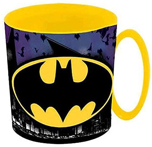 Tazza Bicchiere in plastica per Microonde con manico Bambini colazione (Batman)