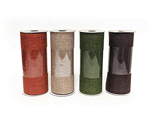 6 Inch Burlap Ribbon Rolls Thick Craft Ribbon Autumn Fall Color Assorted Variety Pack of 4 Rolls - Orange Green Brown and Natural, Approx. 6 in x 3 yd Each