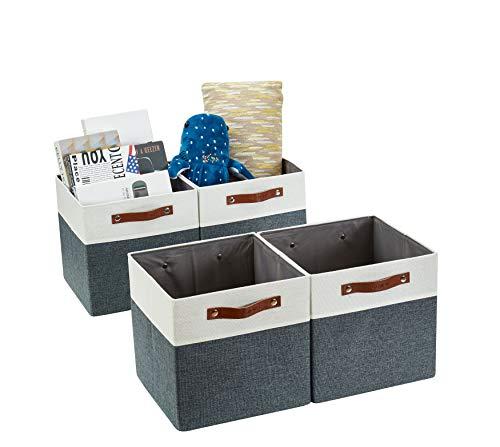 DECOMOMO Foldable Storage Bin [4-Pack] Collapsible Sturdy Cationic Fabric Storage Basket Cube W/Handles for Organizing Shelf Nursery Home Closet (Slate Grey & White, 13 x 13 x 13)
