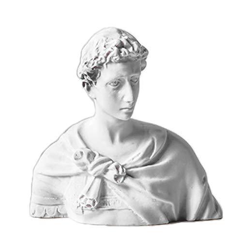 LKXHarleya Small Sanctus Georgius Bust Statue Plaster Classic Greek Figurine Resin Office Cafe Home Desktop Decor