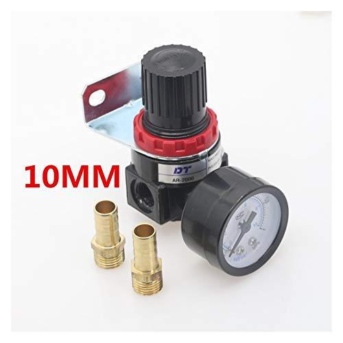 lxxiulirzeu Válvula de reducción del regulador de presión del compresor de Aire neumático de AR2000 1/4'Hilo BSP 4 mm 6 mm 8 mm 10 mm 12 mm Accesorios de Conector (Color : AR2000 BT10mm)