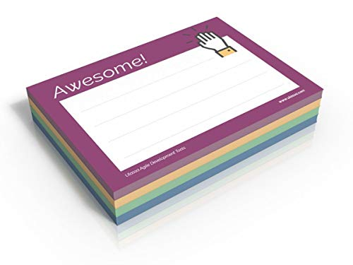 Awesome Notes - 200 Wertschätzungs/Kudos Haftnotizen Awesome - Great Job - Thank You - Very Happy - 70 g/qm - 100 x 72 mm - 4x50 Sticky Notes - Lila - Blau - Grün - Gelb